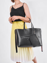 Sac Cabas A4 Iconic Tommy Tommy hilfiger Noir iconic tommy AW09707-vue-porte