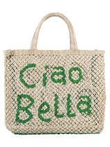 """Sac Cabas """"ciao Bella"""" Format A4 Paille The jacksons word bag CIAOBE"""