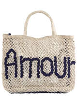 """Jute Shopping Bag """"amour"""" The jacksons Blue word bag AMOUR"""