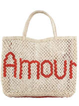 """Sac Cabas """"amour"""" Format A4 Paille The jacksons word bag AMOUR"""