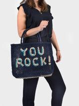 "Sac Cabas ""you Rock!"" Format A4 Paille The jacksons word bag YOUROC-vue-porte"