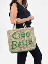 """Sac Cabas """"ciao Bella"""" Format A4 Paille The jacksons word bag CIAOBE-vue-porte"""