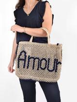 """Sac Cabas """"amour"""" Format A4 Paille The jacksons Bleu word bag AMOUR-vue-porte"""