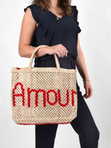 "Sac Cabas ""amour"" Format A4 Paille The jacksons word bag AMOUR-vue-porte"
