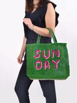 Sac Cabas Sunday The jacksons Vert word bag SUNDAY-vue-porte