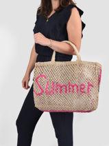 Cabas Word Bag Paille The jacksons Beige word bag SUMMER-vue-porte