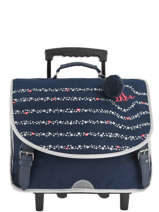 Wheeled Schoolbag 2 Compartments Ikks Blue flight 20-42822