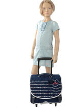 Wheeled Schoolbag 2 Compartments Ikks Blue flight 20-42822-vue-porte