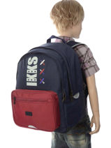 Backpack 2 Compartments Ikks Blue flight 20-63842-vue-porte