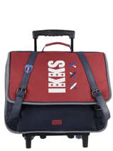 Wheeled Schoolbag 2 Compartments Ikks Red flight 43844