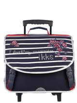 Wheeled Schoolbag 2 Compartments Ikks Blue i love my mariniere 43821