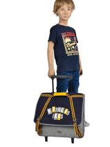 Wheeled Schoolbag 2 Compartments Ikks Gray kings 43838-vue-porte