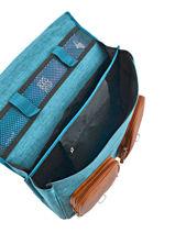 Satchel For Kids 2 Compartments Cameleon Blue vintage chine VIN-CA38-vue-porte