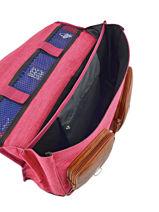 Satchel For Kids 2 Compartments Cameleon Pink vintage chine VIN-CA35-vue-porte
