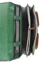 Satchel For Kids 2 Compartments Cameleon Green vintage chine VIN-CA35-vue-porte