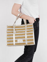 Canvas Tote Bag Made In France With Leather Trimming Etrier Yellow france EFRA01-vue-porte
