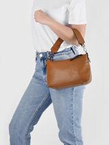 Shoulder Bag Leather Milano Brown caviar CA19114N-vue-porte
