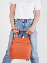 Leather Caviar Backpack Milano Orange CA20065N-vue-porte