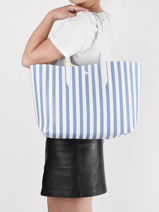 Striped Anna Season Tote Bag With Pouch Lacoste Blue anna season NF3425AS-vue-porte