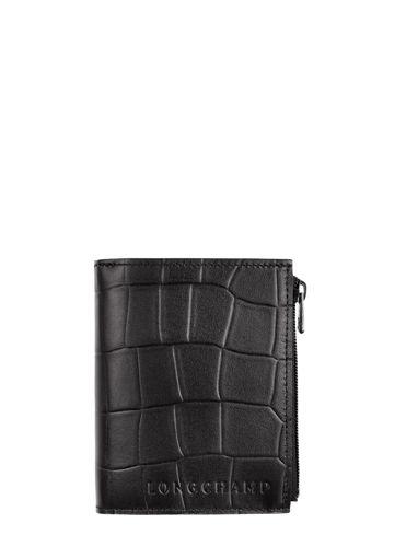 Longchamp Croco block Wallet Black