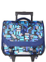 Wheeled Schoolbag 2 Compartments Snowball Blue print 65841R