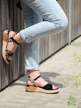 Low wedge leather sandals canon-MAM