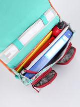 Satchel For Girls 2 Compartments Cameleon Green vintage fantasy CA35-vue-porte