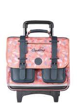Wheeled Schoolbag For Girls 2 Compartments Cameleon Pink vintage fantasy CR38