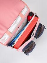 Wheeled Schoolbag For Girls 2 Compartments Cameleon Pink vintage fantasy CR38-vue-porte