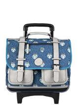 Wheeled Schoolbag For Boys 2 Compartments Cameleon Blue vintage urban CR38