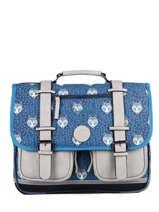 Satchel For Boys 2 Compartments Cameleon Blue vintage urban CA38