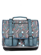 Satchel For Boys 3 Compartments Cameleon Gray vintage urban CA41