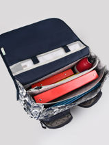 Satchel For Boys 3 Compartments Cameleon Blue vintage urban CA41-vue-porte