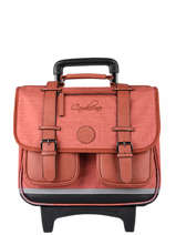 Wheeled Schoolbag 3 Compartments Cameleon Red vintage color CR38