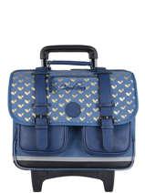 Wheeled Schoolbag For Girls 2 Compartments Cameleon Blue vintage fantasy CR38