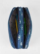 Pencil Case For Boy 2 Compartments Cameleon Blue vintage urban VIB-TROU-vue-porte
