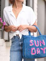 Sac Cabas Sunday The jacksons Bleu word bag SUNDAY