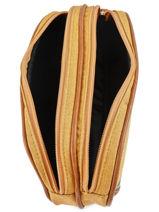 Pencil Case For Kids 2 Compartments Cameleon Yellow vintage chine VIN-TROU-vue-porte