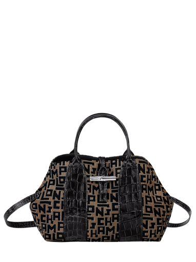 Longchamp Roseau jacquard lgp Handbag Black