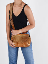 Small Leather Suzon Crossbody Bag Paul marius Gold vintage M-vue-porte