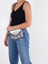 Leather Suzon Argento Crossbody Bag Paul marius Silver argento SUZSARG-vue-porte