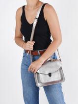 Leather Mlle George Argento Crossbody Bag Paul marius Silver argento GEORGARG-vue-porte