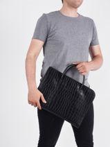 Longchamp Croco block Briefcase Black-vue-porte