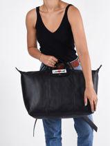 Longchamp Cascading logo Backpack Black-vue-porte
