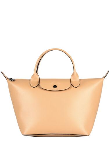 Longchamp Le pliage cuir boxy Handbag Beige