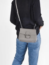 Longchamp Roseau Sacs porté travers Gris-vue-porte