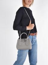 Longchamp Roseau Sacs porté main Gris-vue-porte