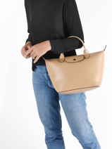 Longchamp Le pliage cuir boxy Sacs porté main Beige-vue-porte