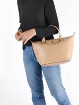 Longchamp Le pliage cuir boxy Handbag Black-vue-porte