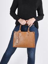 Leather Top Handle Croco Milano Brown croco CR16062N-vue-porte